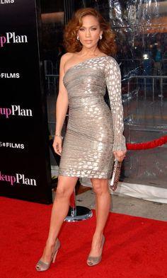 Jennifer Lopez Looks Fierce In This One Shoulder Dress By Gianfranco Ferre, April 2010