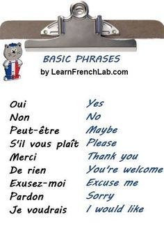 Learn Basic French Phrases you can use in everyday conversation in 4 steps with Free Audio Lesson. Basic French Words, French Phrases, French Quotes, French Verbs, French Expressions, French Language Lessons, French Language Learning, Learn A New Language, Spanish Lessons