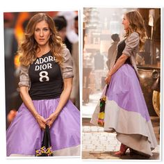 Who doesn't remember the outfit Carrie wore while she was shopping at the Abu Dhabi market ?? ... It was fabulous and also it was the objective of so many bad reviews ...  But now 3 years later, we all agree that the pure magic happen when Carrie put together  de perfection of the  Zac Posen antebellum hoop skirt, with the beautiful and crazy Christian Dior T-shirt, the Andrea Lieberman bracelet and vintage bag and of course, the classy and adorable Manolo Blahnik sandals ...