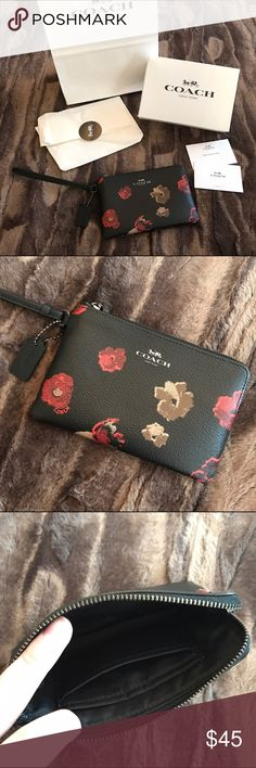 """Coach Floral Wristlet NWOT New without tags! Approximately 6.25""""x4.25"""" (will fit an iPhone 6 or 7 with no case or a slim case on it). Two credit card slots inside. Comes wrapped in tissue and in box seen in picture (bag and care instruction cards also included). Ready to go as a gift! ***Price is firm. No trades please.*** Coach Bags Clutches & Wristlets"""