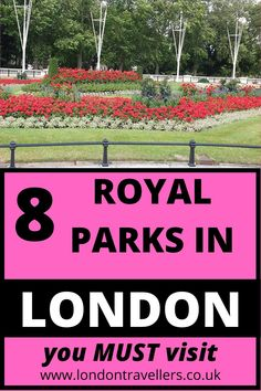 Hyde Park. Green Park. Kensington Gardens. Bushy Park. Richmond Park. Greenwich Park. Regent's Park. St. James' Park. They all have one thing in common. They used to be recreational and hunting grounds for the royal family since the 14th Century. Now, it's for the public to enjoy beautiful colourful flowerbeds, lakes overlooking Buckingham Palace and the London Eye,   and wildlife such as deer. 8 Royal Parks of London | Royal Parks | Parks #royalparks #londonparks #parks #londonattractions Best Places To Travel, Cool Places To Visit, Free London Attractions, Travel Themes, Travel Destinations, Greenwich Park, Richmond Park, Green Park