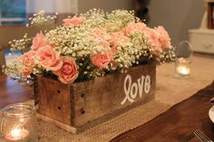 Rustic Pallet Wood Centerpiece Box. I can do this with an old tool box of grandpas :)