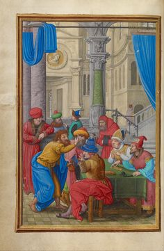 Simon Bening : Judas Receiving the Thirty Pieces of Silver (Getty Center) 1483-1561 シモン・ベニング