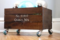 You Don't Need a Old Crate to Make this Personalized Rolling Storage Bin (Great for a shoe bin by the door and then roll it into the closet when guests come)