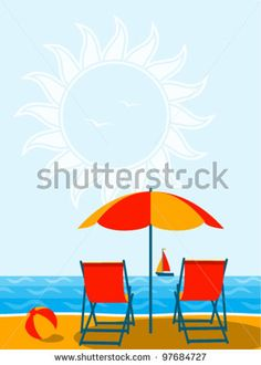 stock vector : vector deck chairs under umbrella on the beach Small Leather Chairs, Umbrella Chair, Cheap Chairs, Vector Vector, Deck Chairs, Royalty Free Stock Photos, Colours, Beach, Illustration