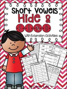Short Vowels ~ Hide and Find with Extension ActivitiesCombining Skills ~ thats what helps kids learn!In this product, I have combined reading, spelling, phonics/phonemic awareness, alphabetizing, and comprehension skills.  Included;5 Word Searches5 Sets of Short Vowel Words for Hiding5 Recording Sheets to record the hidden words5 Sound Boxes Pages5 Cut and Paste Pages5 Unscramble the Words Pages5 ABC Order PagesIt all starts with a fun Hide and Find activity.