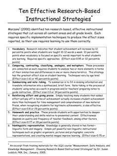 Most Effective Instructional Strategies (Research Summary by Marzano) Sigh. I'll do these things more often.The Most Effective Instructional Strategies (Research Summary by Marzano) Sigh. I'll do these things more often. Instructional Coaching, Instructional Strategies, Differentiated Instruction, Instructional Design, Teaching Strategies, Teaching Tips, Differentiation Strategies, Instructional Planning, Teaching Techniques