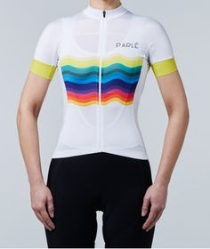 Parlé Cycling Rainbow Jersey. The fully-fashioned feminine cut was created to provide a sense of lightness and comfort. Soft, elastic material doesn't scrape or irritate. The rear panel made of UV-filter material is perfect for scorching, sunny days. It effectively siphons the heat off, providing optimal comfort. An additional feature is a zippered pocket matched to the whole, intended for storing a phone. https://parle.cc/en/jerseys/12-rainbow-jersey.html