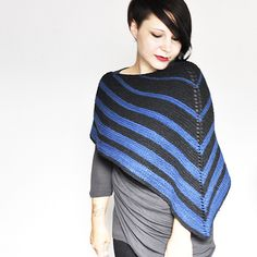 This shawl-turned-poncho is a great way to ward off the chill of autumn and a stylish alternative to your traditional triangular shawl.