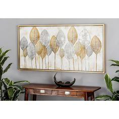 Gold and Silver Veined Leaves Hand Painted Framed Canvas Wall Art, Matte Gold And Silver Metal Wall Decor, Wood Wall Art, Modern Wall Art, Framed Wall Art, Wall Art Decor, Large Framed Art, Canvas Frame, Wall Canvas, Floral Canvas Wall Art