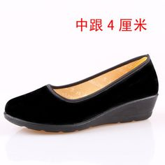2016 Middle Aged China Women Black Slip On Canvas Platform Work Single Dress Shoes Wedges Pumps New Arrival 35 Size 34 Elderly