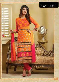 Beautifully designed cotton Straight cut Salwar Suit Twin colored with beautiful embroidery work done. Comes along with Matching Cotton Bottom and Chiffon Duppatta.