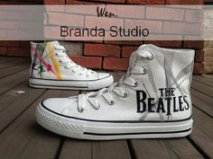New-The Beatles Shoes,Studio High Top Hand Painted Shoes 49.99Usd,Paint On Custom Converse Shoes Only 90Usd,Buy One Get One Phone Case Free on Etsy, $49.99