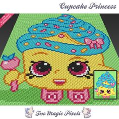Cupcake Princess crochet blanket pattern; knitting, cross stitch graph; pdf download; Shopkins; no written counts or row-by-row instructions by TwoMagicPixels, $3.79 USD