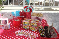 Circus/Carnival Birthday  Love the flower vase using tickets, carnations and pinwheels, the red bucket for utensils, the animal cracker boxes
