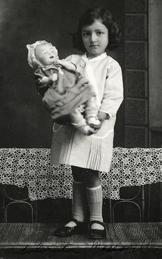 Girl and Doll - Italian-doll looks like an early compo baby