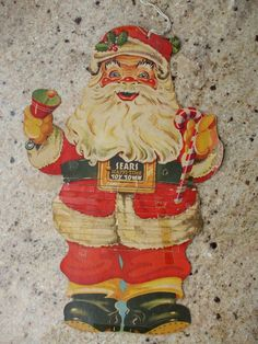 Vintage Santas, Vintage Christmas, Vintage Advertisements, Mixed Media, Advertising, Christmas Decorations, Fictional Characters, Art, Vintage White Christmas