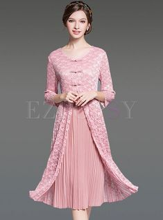 Shop for high quality Chic Pure Color Pleat Two-Piece Shift Dress online at cheap prices and discover fashion at Ezpopsy.com