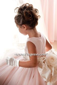 Flower girl dresses of the year Style 402 - Degas Style Tulle Flower Girl Dress in Ballet Pink and Bisque or Ivory by Pegeen Tulle Flower Girl, Tulle Flowers, Flower Girl Dresses, Flower Girls, Bridesmaid Flowers, Bridesmaid Dresses, Wedding Dresses, Bridesmaids, Bridal Gowns