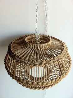 vintage MacrameJute style chandelierHanging by APerfectPieceDallas, $185.00