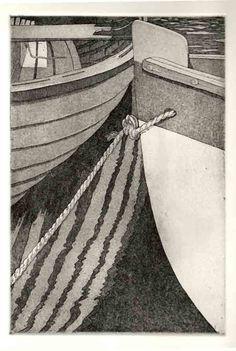 Teathered - Original etching aquatint. $25.00, via Etsy.