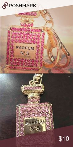 💎 Perfume Bling Keychain 💎 Exactly as pictured New perfume shaped crystal keychain Pink and gold colored Ships today Makeup Lipstick