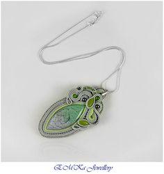 Hand made soutache necklace in grey / green tones Apple of Eden