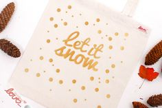 "Jutebeutel mit Golddruck ""Let it snow"" / hipster tote bag, golden typo, christmas by mydearlove via DaWanda.com"