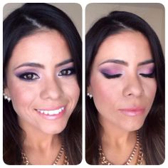 She used Younique's eye pigments in curious on the inner eye, sassy on the inner lid, regal on the outer lid, & precocious on the outer V, and Younique's blusher in Sweet. Clicking on the photo will take you to shop the products she used.