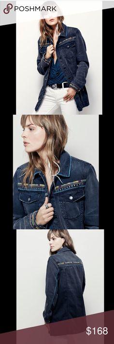 Selling this Free People Denim Embroidery Studs Trim Jacket M on Poshmark! My username is: richbororiches. #shopmycloset #poshmark #fashion #shopping #style #forsale #Free People #Jackets & Blazers