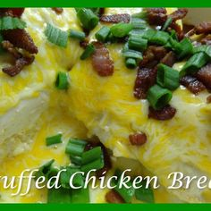 Stuffed Chicken Breast Turkey Dishes, Turkey Recipes, Chicken Recipes, Stuffed Chicken, Baked Chicken, Red Skin Potatoes Recipe, Good Food, Yummy Food, Tasty