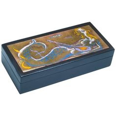 Kay Whitcomb Lidded Copper Enamel Mermaid Box, circa 1962  | From a unique collection of antique and modern boxes at https://www.1stdibs.com/furniture/decorative-objects/boxes/