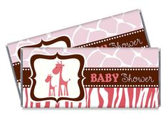 Pink Wild Safari Giraffe baby shower candy bar wrappers by TheWrapperPress