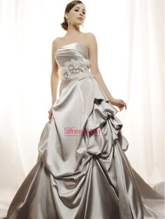 Luxurious Satin Ball Gown Wedding Dress with Asymmetrical Dropped Waistline and Pick Up Skirt : $199.99 by donnawilleys