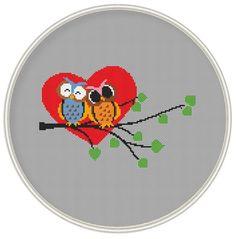 Cross stitch pattern, Love owl, Cross-Stitch PDF, Instant Download, Free shipping, valentine's day pattern