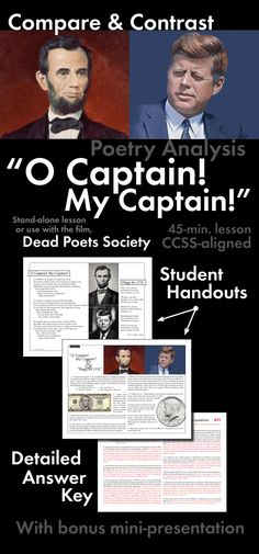 "Print-and-teach materials to use with Walt Whitman's beloved ""O Captain! My Captain!"" poem. Use this 45-minute lesson as a stand-alone lesson or with a viewing of Dead Poets Society."
