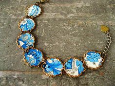 Bright Blue and White Paisley Vintage Tin Link by studioCjewelry