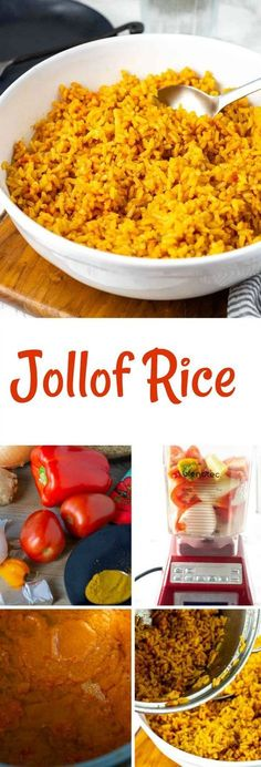 Flavorful Jollof Rice is a favorite West African dish that is full of flavor brown rice cooked with tomatoes red bell pepper onion garlic ginger. Rice Recipes, Side Dish Recipes, Casserole Recipes, Crockpot Recipes, Soup Recipes, Vegetarian Recipes, Healthy Recipes, Recipes Dinner, Potato Recipes
