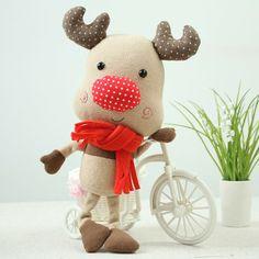 diy手工布艺教程等比例图纸北欧范Q公仔麋鹿点点玩偶材料包