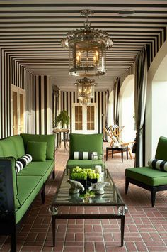 ceiling stripes - brillliant, how dramatic  https://www.facebook.com/ThreeLittlePigsColourAndDesign #green #outdoor #sofas