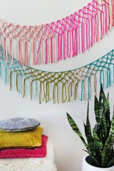 Colorful DIY Macrame Yarn Garland For Party Decor | Shelterness