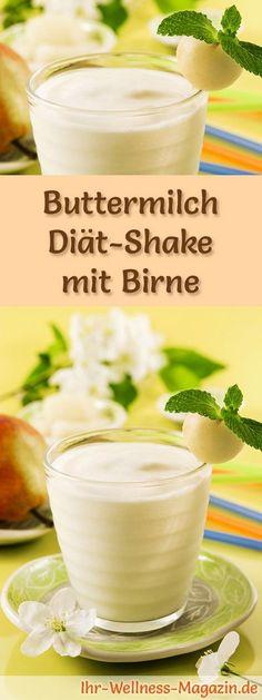 Buttermilch-Shake mit Birne - ein Rezept mit viel Eiweiß und wenig Kalorien, perfekt zum Abnehmen, gesund und lecker ...