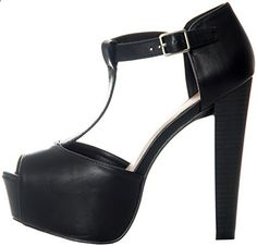 Breckelles Women's Peep Toe High Heel T-Strap Platform Sandals Black Synthetic upper, synthetic sole. w/ platform. Non-skid sole and cushioned footbed. Fit: Runs true to size. Black Sandals, Black Shoes, 5 Inch Heels, T Strap, Heeled Mules, Heeled Sandals, High Heels, Women's Heels, Peep Toe