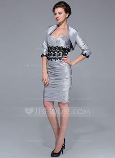 Sheath/Column Sweetheart Knee-Length Taffeta Mother of the Bride Dress With Ruffle Lace (008025764)