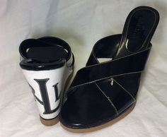 RALPH LAUREN Black Patent Leather VIRGINIA Wedge Sandals 9.5 M #LaurenRalphLauren #PlatformsWedges #Casual