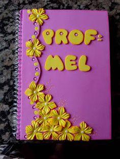 Herthal art's: caderno decorado com flores em e.v.a