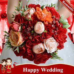 Ramos De Novia Rojo 2016 Red Rose Bouquets Artificial Wedding Bouquets For Bride…