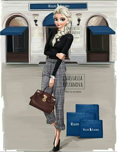 Russian artist illustrates how Disney princesses in modern luxury . - Mara E. - Russian artist illustrates how Disney princesses in modern luxury b …. Disney Princess Modern, Modern Disney Characters, Disney Princess Fashion, Disney Princess Drawings, Princess Style, Disney Drawings, Disney Style, Drawing Disney, Princess Rapunzel