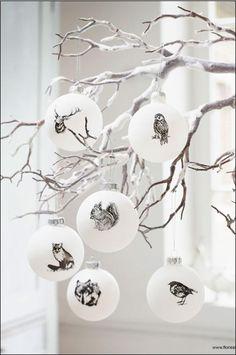 mooie witte kerstballen met dieren - christmas decoration - 2014