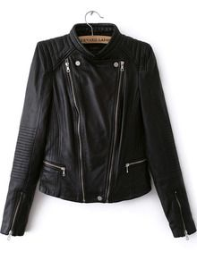 jacket with zipper-Black